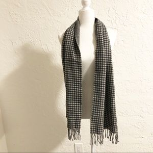 Men's J Crew Cashmere Black Plaid Winter Scarf